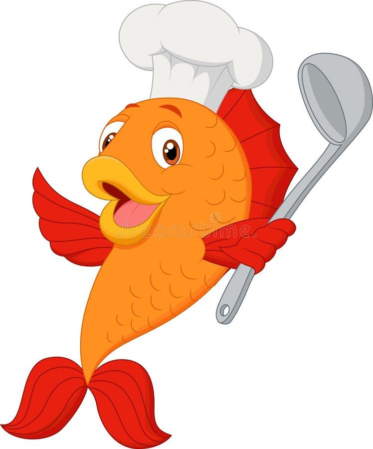 Siviera di minestra della tenuta del pesce del cuoco unico del fumetto illustrazione di stock