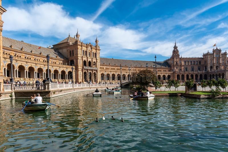 Siviglia, punto di vista di Plaza de Espana fotografia stock