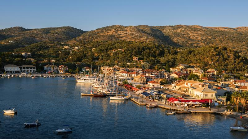 Sivota, Greece, 09 September, 2017 Panorama of the center of the town of Sivota in the Greece. stock images