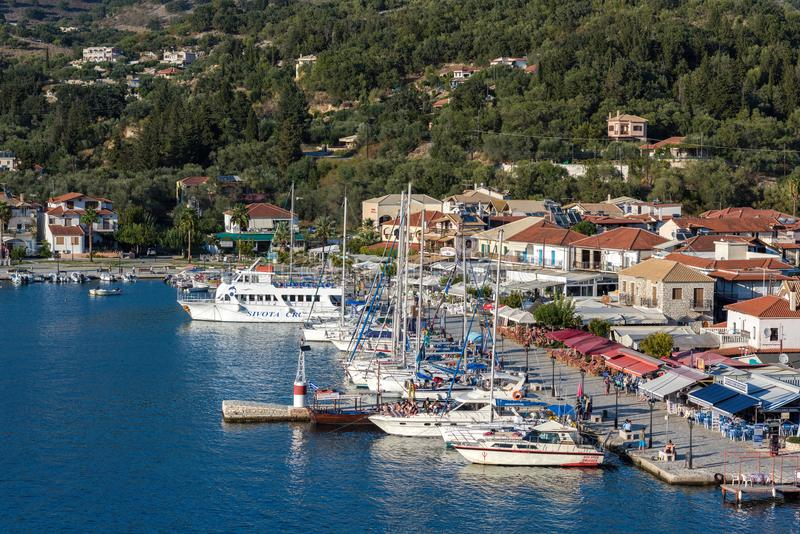 Sivota, Greece, 09 September, 2017 Panorama of the center of the town of Sivota in the Greece. stock photo