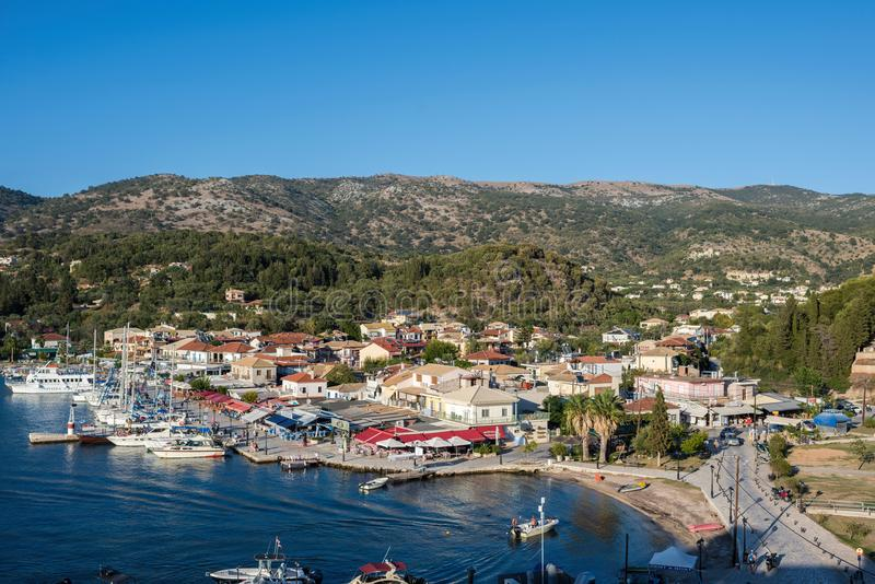 Sivota, Greece, 09 September, 2017 Panorama of the center of the town of Sivota in the Greece. stock photography