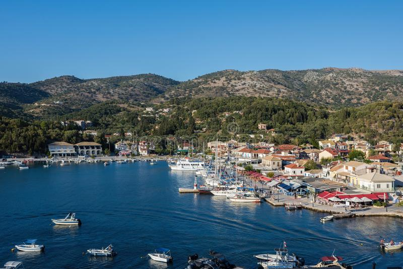Sivota, Greece, 09 September, 2017 Panorama of the center of the town of Sivota in the Greece. royalty free stock photography