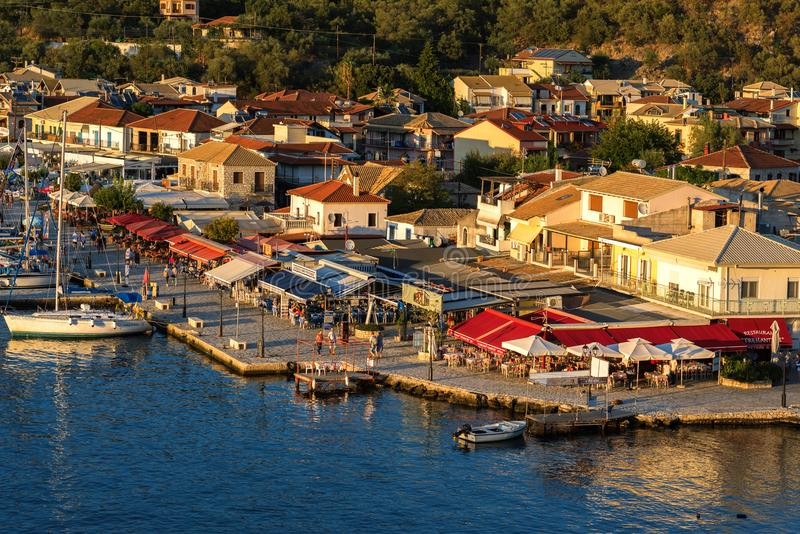 Sivota, Greece, 09 September, 2017 Panorama of the center of the town of Sivota in the Greece. royalty free stock image