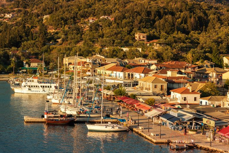 Sivota, Greece, 09 September, 2017 Panorama of the center of the town of Sivota in the Greece. stock photos