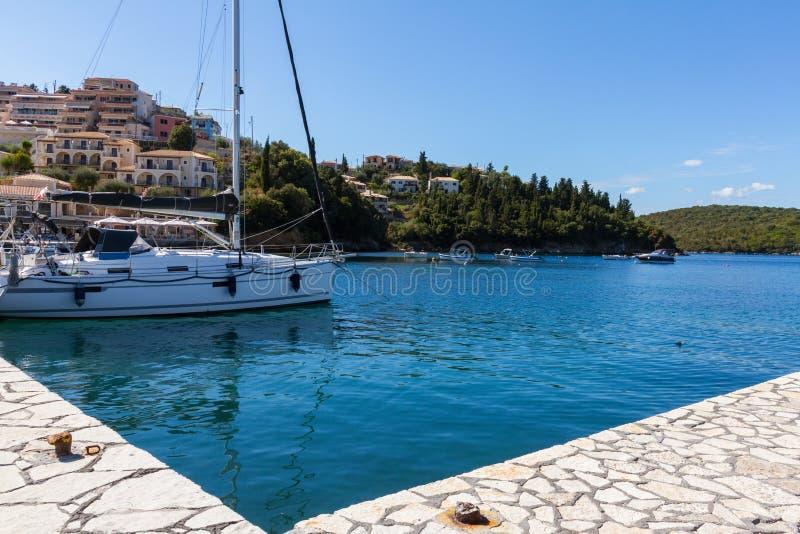 SIvota tourist resort harbor in Greece stock photo
