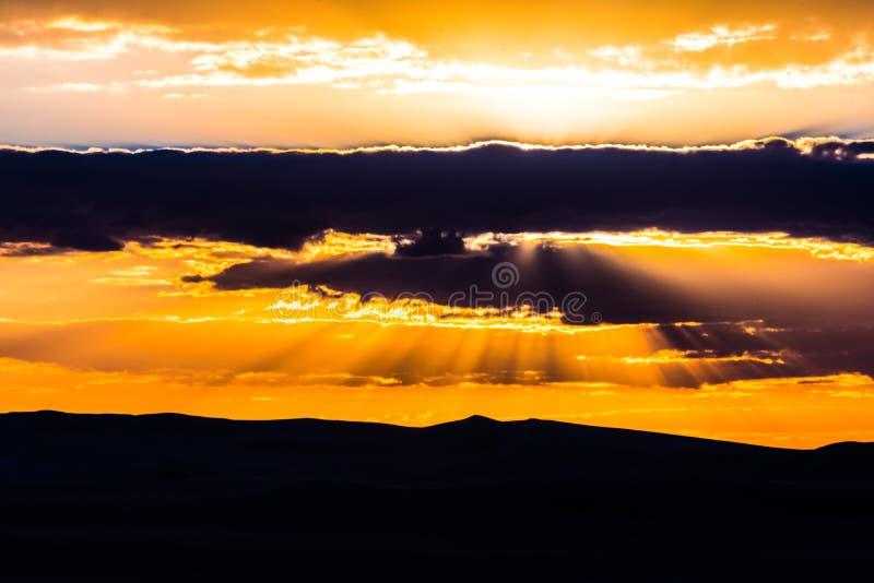 Siwa-Wüsten-Sonnenuntergang stockfoto