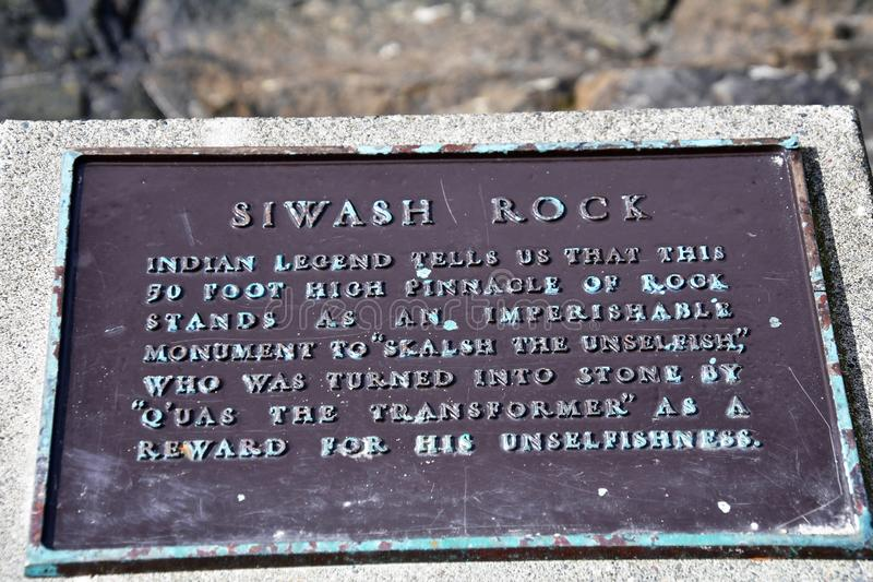 Siwash岩石标志 免版税图库摄影