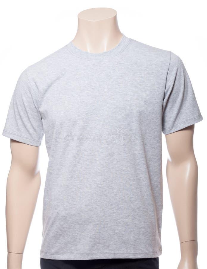 Siwieje heathered shortsleeve bawełnianego tshirt na mannequin odizolowywającym fotografia stock