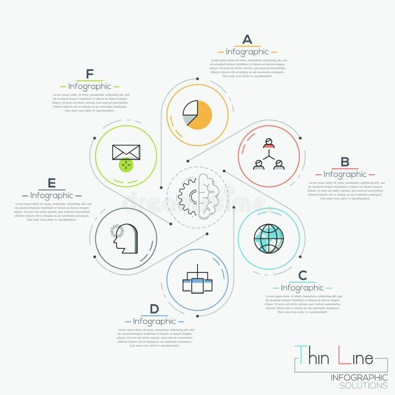 Six éléments ronds avec des icônes illustration de vecteur