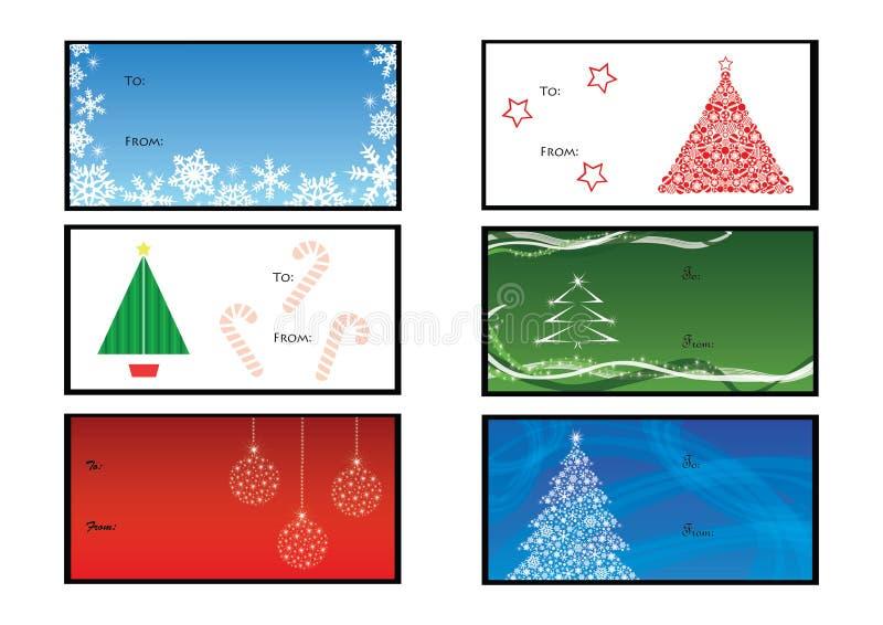 Six étiquettes de Noël illustration de vecteur
