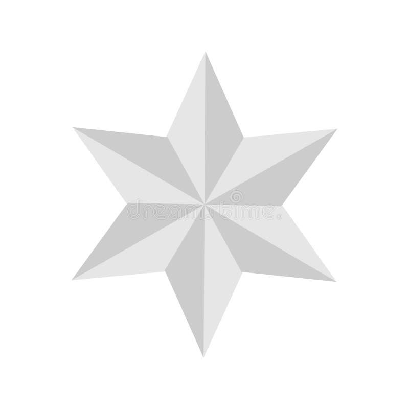 Six étoiles argentées du point 3D sur le fond blanc illustration libre de droits