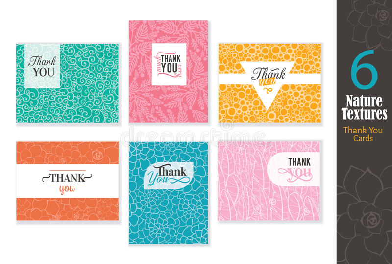 Six abstract natural textures thank you cards set with text design, pattern backgrounds perfect for any ocasion wedding vector illustration