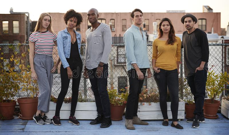 Six adult friends standing together on rooftop, full length stock photos