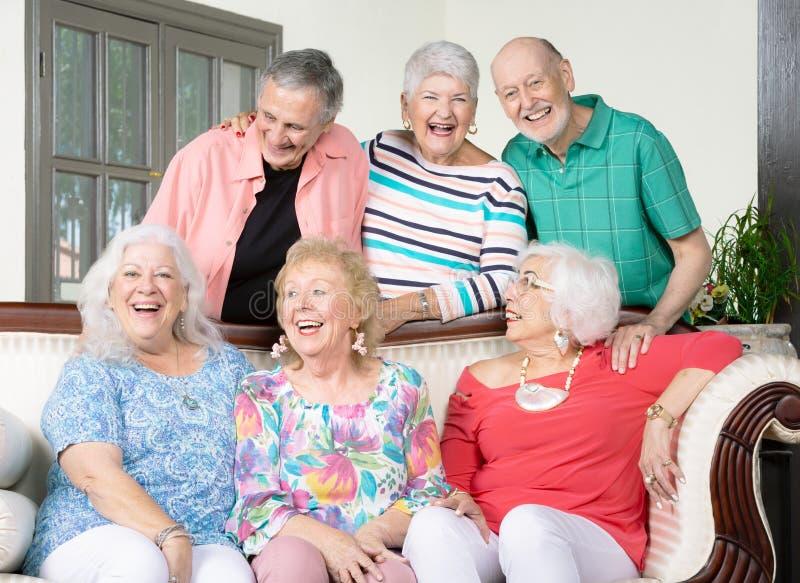 Six amis supérieurs riants sur un divan image stock
