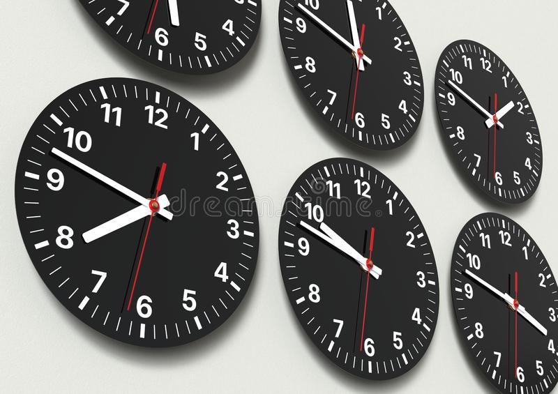 Six analog clocks on wall, showing world time royalty free stock photos