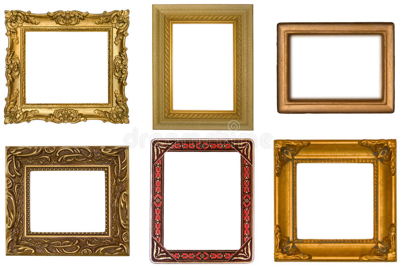 Six Antique Frames. On White Background royalty free stock photo