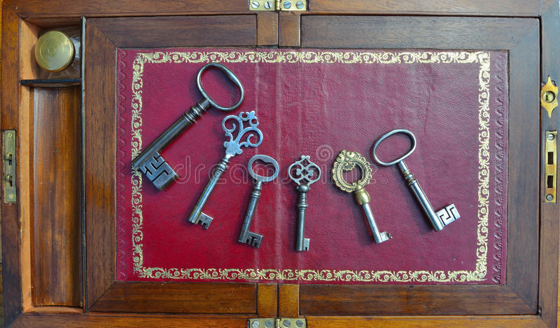 Six Antique Keys royalty free stock photos