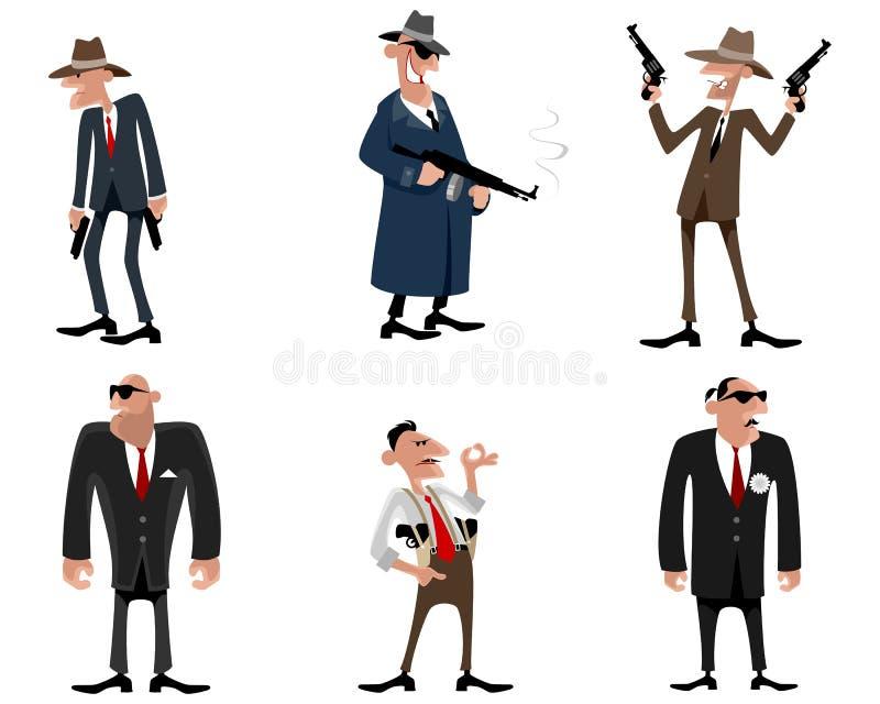 Six bandits réglés illustration de vecteur