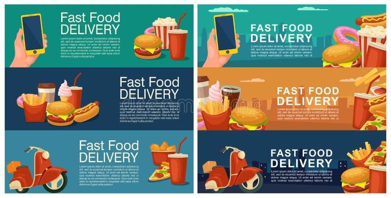 Six bannières horizontales pour la livraison d'aliments de préparation rapide illustration stock