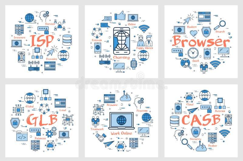Six bannières - ISP, causant, navigateur illustration stock