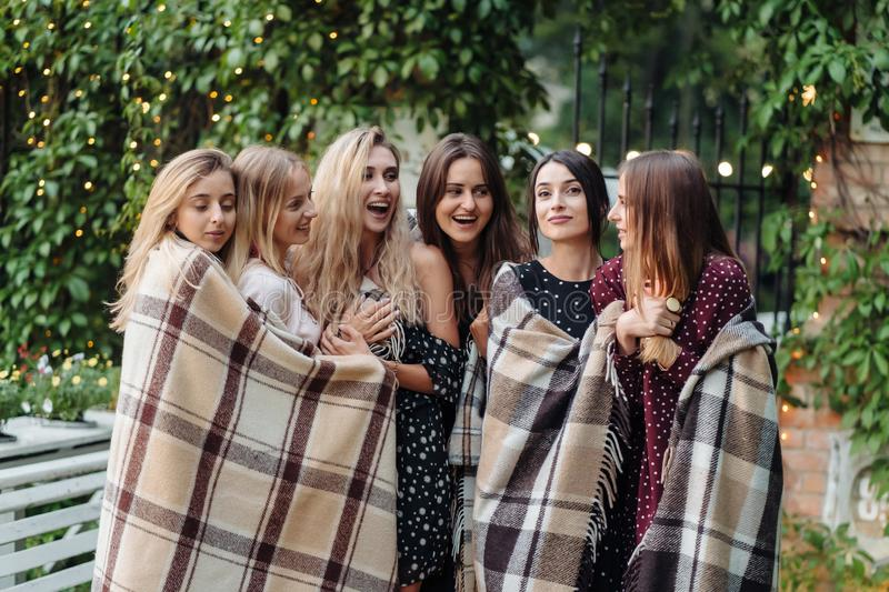 Six girls in the park stock image