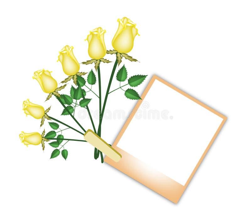 Six belles roses avec la photo vide de Brown illustration libre de droits