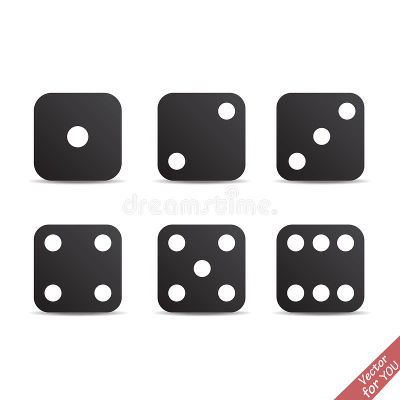 Six black dice cubes set. Vector illustration vector illustration