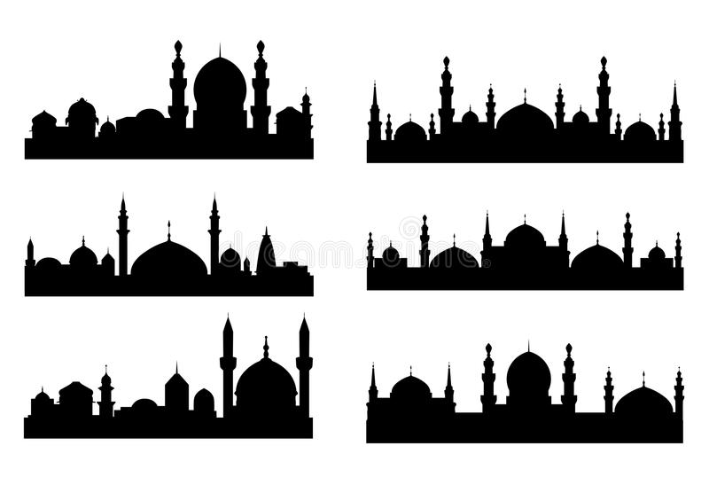 Six black silhouettes of Arabian vector illustration