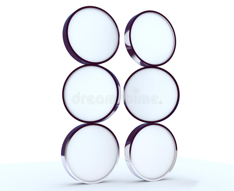 Download Six Blank Rounded Box Display Stock Illustration - Image: 22991634