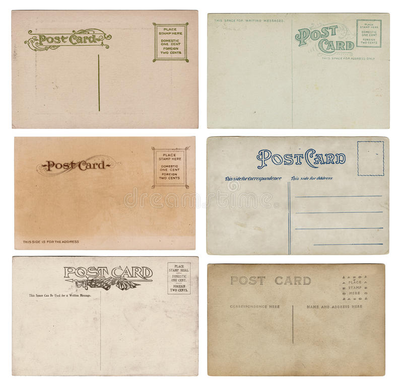 Six Blank Vintage Antique Postcards. Set of six blank vintage antique postcards with character and grunge