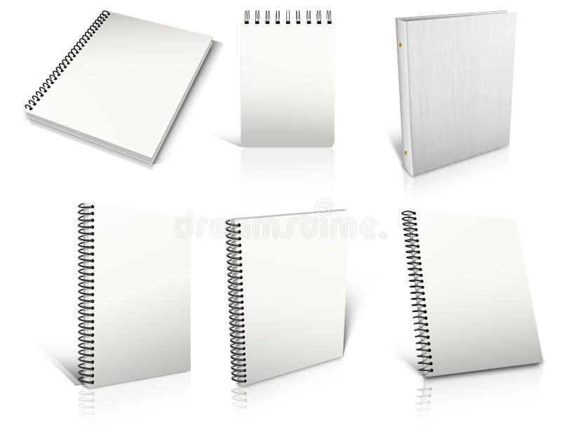 Six bloc - notes blanc spiralés de blanc sur le blanc. illustration libre de droits