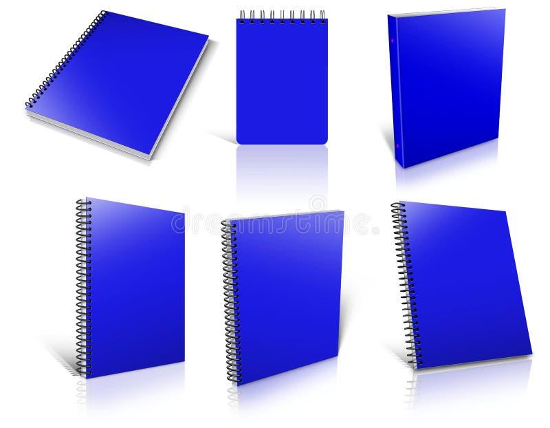 Six blocs-notes vides en spirale de bleu sur le blanc illustration libre de droits