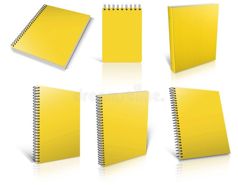 Six blocs-notes vides en spirale jaunes sur le blanc illustration de vecteur