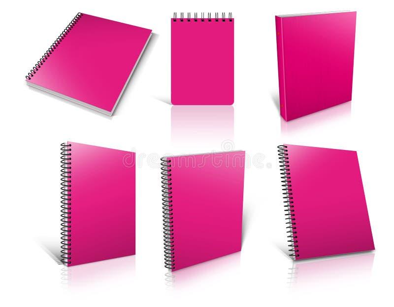 Six blocs-notes vides en spirale roses sur le blanc illustration libre de droits