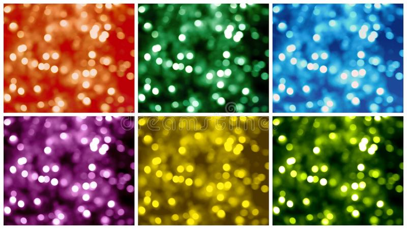 Six Bokeh backgrounds. In red, green, blue, yellow, and violet stock photo