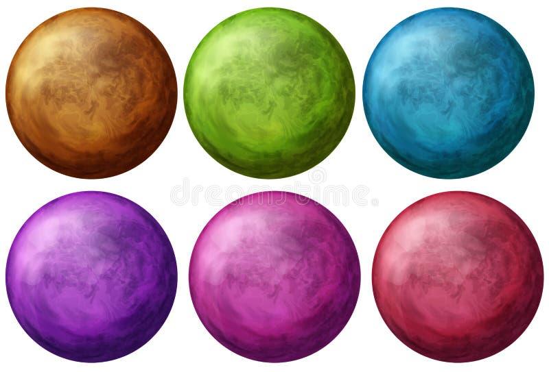 Six boules colorées illustration stock