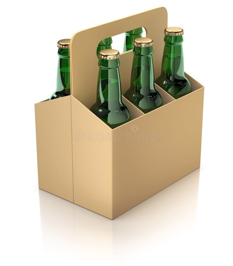 Six bouteilles vertes de bière dans l'emballage de carton illustration de vecteur