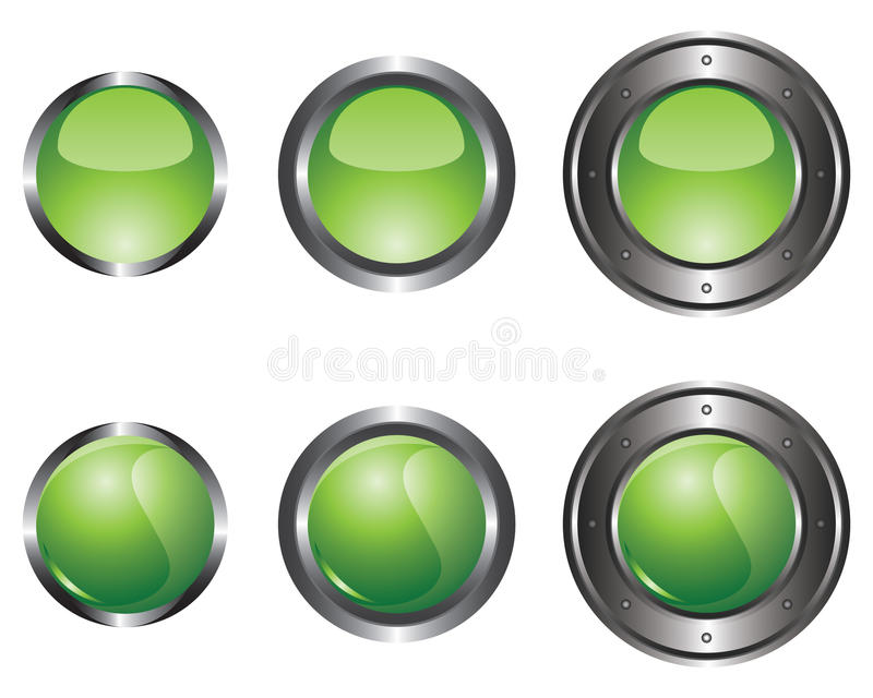 Six boutons verts illustration de vecteur