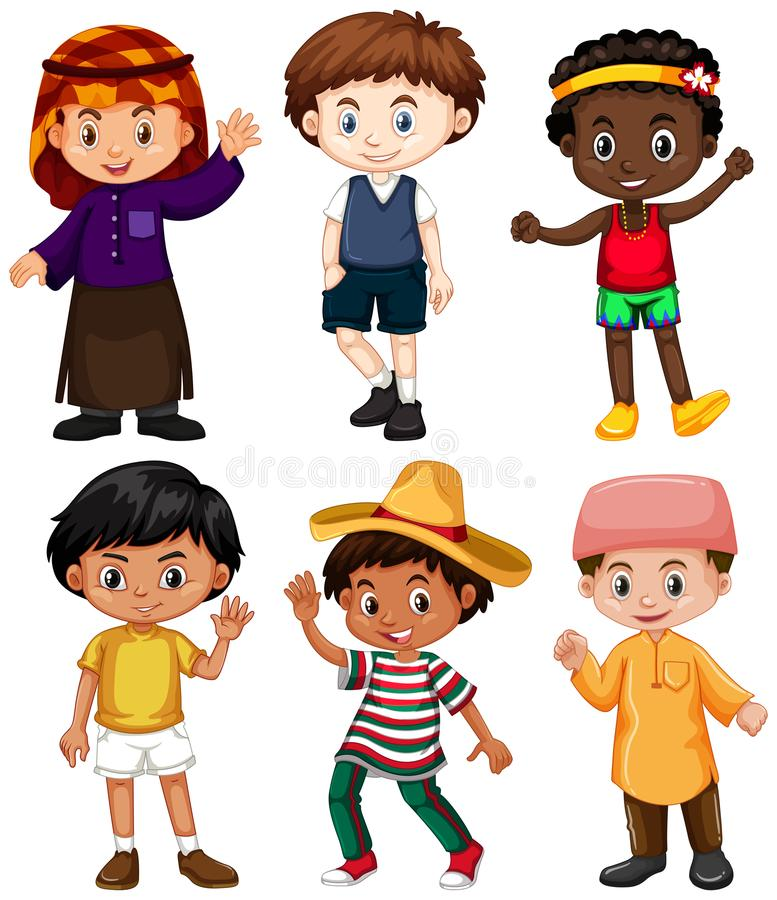 Six boys from different countries stock illustration