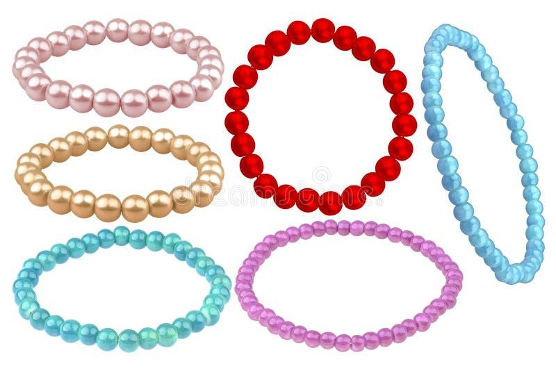 Six bracelets élastiques faits de perles rondes comme une perle et x28 ; pâle - rose, bronze, turquoise, rouge, violette et blue& images stock