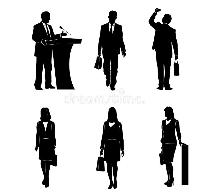 Six business people silhouettes stock illustration