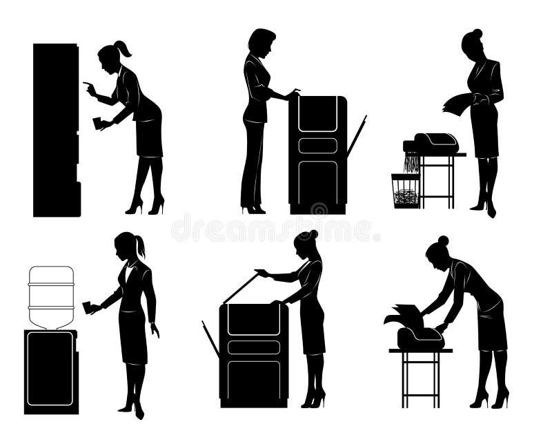 Six businesswomen silhouette. Vector illustration of a six businesswomen silhouette royalty free illustration