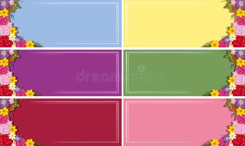 Six calibres de bannière avec les fleurs colorées illustration de vecteur