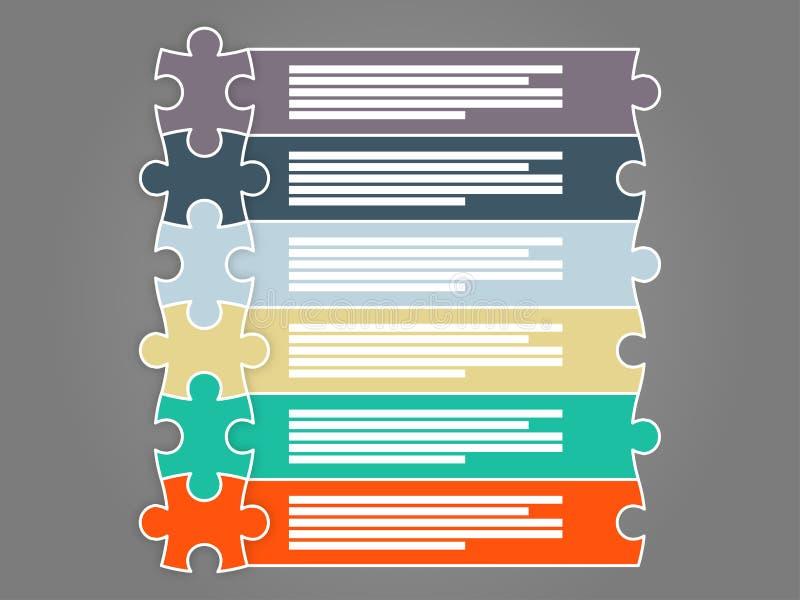 Six calibres infographic coloré de présentation de puzzle de morceau illustration stock