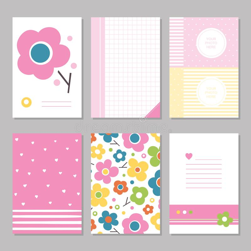 Pink spring flowers stationary pages. Six cute notebook covers with flowers, patterns and stationary pages stock illustration