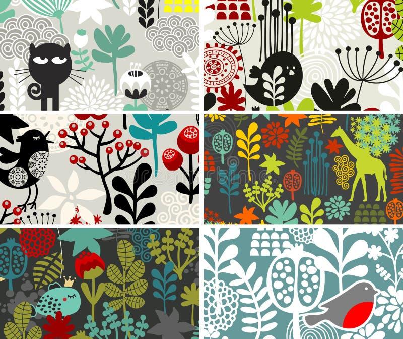 Six cartes avec les modèles floraux. illustration de vecteur