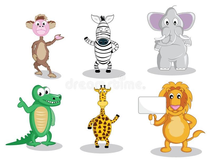 Six cartoon animals isolated on white royalty free illustration