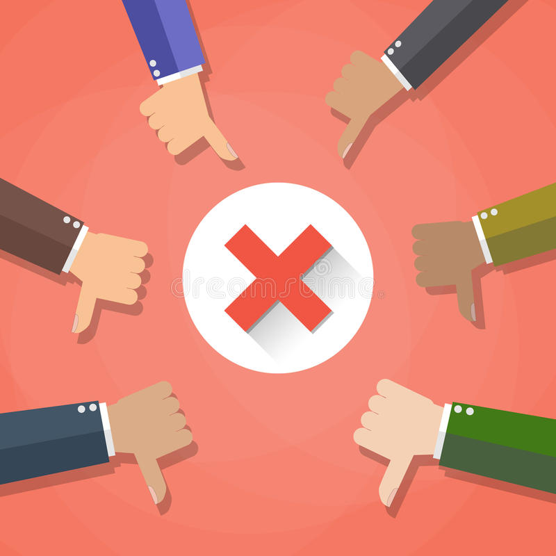 Six cartoon Businessmans hands hold thumbs down. negative checkmark in center, vector illustration flat design on red royalty free illustration