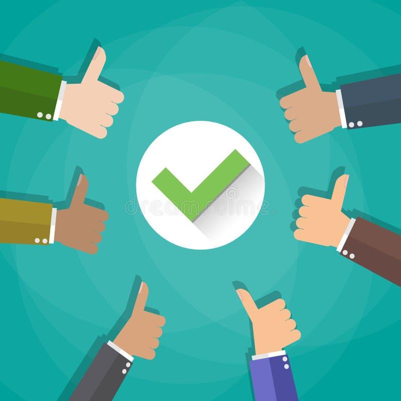 Six cartoon Businessmans hands hold thumbs up. positive checkmark in center, vector illustration flat design on green vector illustration