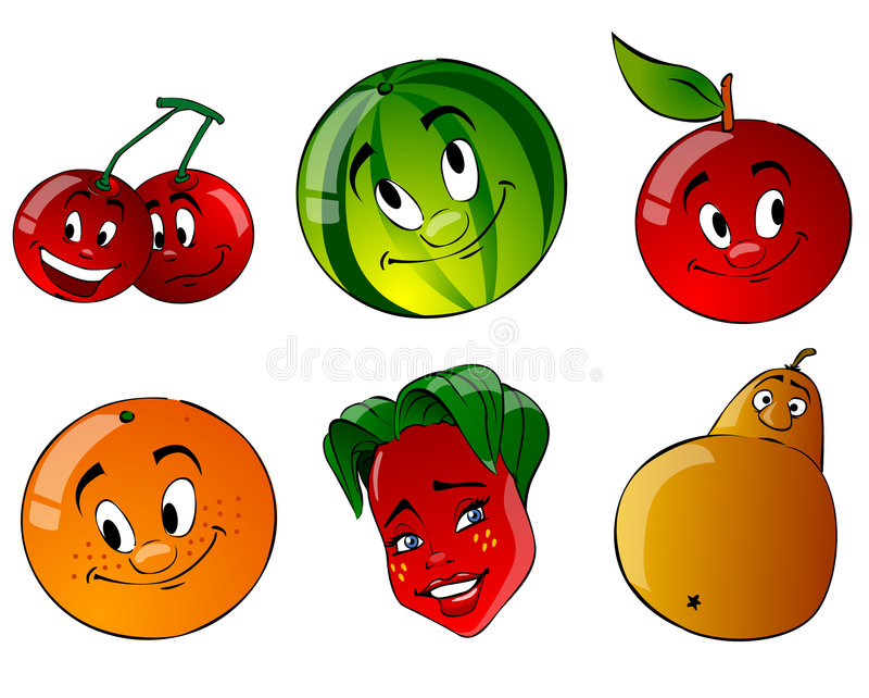 Six cartoon fruit. On a white background vector illustration